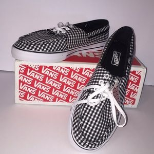 Vans black &white tie up shoes. NEW W/ TAGS & BOX!